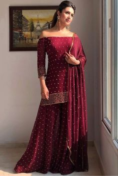 Desi Wedding Dresses, Indian Wedding Outfits, Party Wear Dresses, Bridal Outfits, Indian Outfits, Bridal Dresses, Sharara Designs, Kurti Designs Party Wear, Lehenga Designs