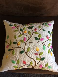 this pin was discovered by Diy Embroidery Shirt, Cushion Embroidery, Hand Embroidery Videos, Floral Embroidery Patterns, Hand Embroidery Flowers, Crewel Embroidery Kits, Hand Work Embroidery, Embroidered Cushions, Hand Embroidery Designs