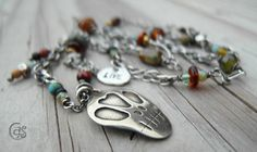 Sugar Skull Necklace Beaded Chain Eclectic Art Jewelry