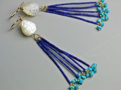 Special Offer - Lapis and Turquoise Tassel Earrings. Carved Mother of Pearl Floral Bead. Long Earring.