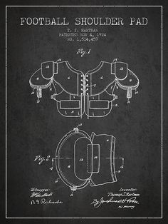 1924 Football Shoulder Pad Patent – Charcoal by Aged Pixel – American Football Boys Football Room, Football Fever, Football Signs, Watch Football, Nfl History, Soccer Coaching, Vintage Football, Patent Prints, American Football
