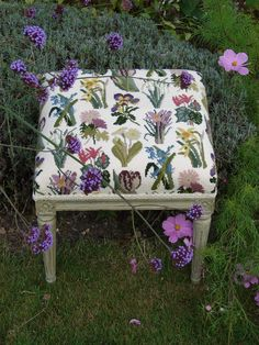 Needlepoint bespoke stool - Primavera