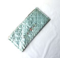 vintage 1950's blue satin quilted bag purse small rectangular embroidered flowers pearls metal zipper womens fashion accessories mid century by RecycleBuyVintage on Etsy