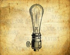 Vintage Light Bulb Clipart Illustration Instant by BackLaneArtist