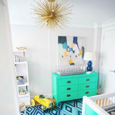 Amber Fillerup Nursery Design Trend Green Cobalt White Baby Boy Gold Accents Liapela.com