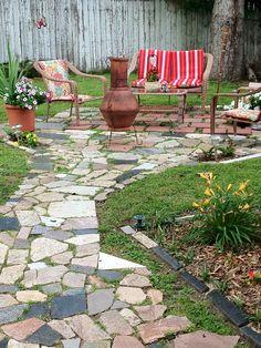 Patio made with granite scraps...free!