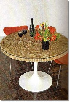 wine cork table...... maybe an end table or coffee table? or bar?