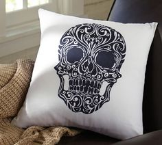 Our Day of the Dead pillow is perfect for Halloween. #potterybarn