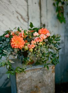 Floral Arrangement ~ orange, green