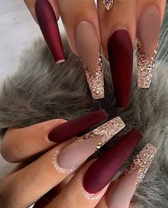 Cute Red Nails, Red Matte Nails, Red And Gold Nails, Bling Acrylic Nails, Best Acrylic Nails, Dope Nails, Gorgeous Nails, Acrylic Nail Designs, Long Red Nails