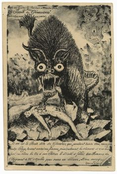 The Beast of Gevaudan, werewolf illustration, France ca.1414. Looks a little like Aku from Samurai Jack.