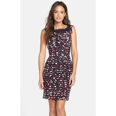 Women's Adrianna Papell Floral Print Ribbon Stripe Mesh Sheath Dress (198 CAD) ❤ liked on Polyvore featuring dresses, mesh jersey, sheath dress, sleeve dress, floral dress and jersey dress