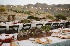 Banquet tables with succulent center pieces, Joshua Tree Wedding, Jordan & Charley | Sethers and Love Wedding Photography