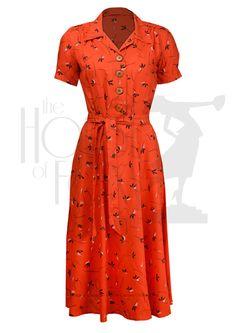 1940s Shirt Dress - vintage rayon