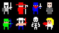 The latest in my long-going series of RPG Sprites. Some of these are inspired by Realm of the Mad God, an MMORPG/twin-stick shooter . Image Pixel Art, Pixel Font, Pixel Characters, 8 Bit Art, Pixel Animation, Pixel Art Games, Pixel Design, Video Game Art, Game Character
