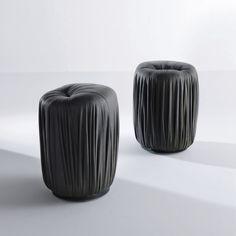Original design pouf / velvet / leather / round DRAPE : BD 74 by Bartoli Design LAURAMERONI