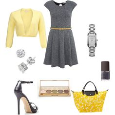 Love this outfit! Perfect for Spring with the muted, soft, yellow shrug.