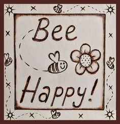 Bee Happy Card. From an original pyrography design on wood. Available from card collections at  www.leah-robinson.com