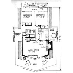 This cabin design floor plan is 1370 sq ft and has 3 bedrooms and has 2 bathrooms. Contemporary Style Homes, Contemporary House Plans, Contemporary Bathrooms, Contemporary Design, Door Decks, 3d House Plans, Cottage Floor Plans, Shed Homes, Cabin Design