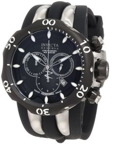 Invicta Men's 10835 Venom Reserve Chronograph Black Dial Black Polyurethane Watch *** Read more reviews of the product by visiting the link on the image.