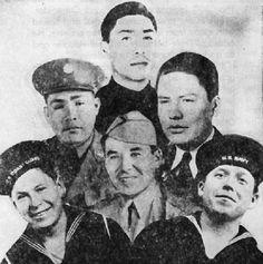 Top, S-Sgt. Judson Brave; center, S-Sgt. Francis Brave, S-Sgt, Waldron Frazier, Cpl Alexander Brave; bottom, Ronald and Donald Frazier.