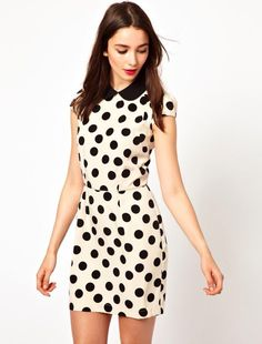 Cute Peter Pan Collar Polka Dots Color Splicing Beam Waist Short Sleeves Dress For Women Casual Dresses Cute Skater Dresses, Polka Dot Bodycon Dresses, Dot Dress, Cute Dresses, Casual Dresses, Dress Up, Cute Outfits, Dresses 2014, Look Fashion