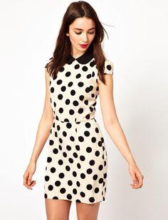 White Short Sleeve Polka Dot Bodycon Dress