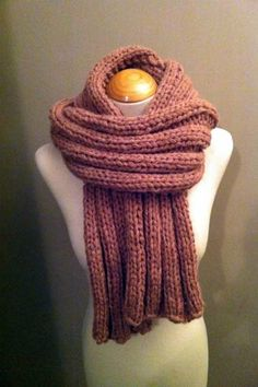 Hand Knitted Luxurious Long Scarf in a fantastic Salmon Pink colour on Etsy, £49.99