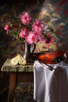 'Still Life with Camellias, Pear & Violin' by Jon Wild on artflakes.com as poster or art print $17.33