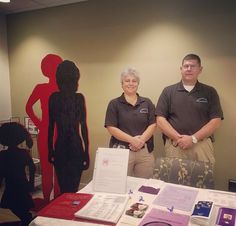 Detectives Browne & Tigges at a Domestic Violence display for @laheyhealth Domestic Violence Awareness Month. #domesticviolenceawareness