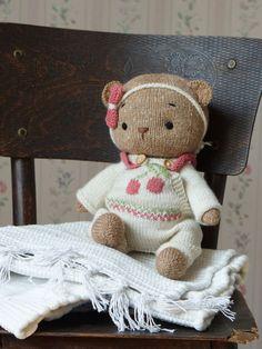 "Polushkabunny Toy clothes knitting pattern for Teddy Bear Clothes Pattern / Knitting patterns PDF - Outfit ""Cherry"" Teddy Bear Knitting Pattern, Knitting Patterns, Knitting Toys, Teddy Bear Clothes, Teddy Bear Toys, Clothing Patterns, Doll Clothes, Dolls, Cherry"
