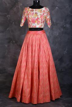 Taffeta And Silk Party Wear Crop top lehenga In Peach Colour Nn dresses Indian Gowns Dresses, Indian Fashion Dresses, Indian Outfits, Fashion Outfits, Party Fashion, Crop Top Dress, Crop Top Outfits, Indian Crop Tops, Indian Skirt And Top
