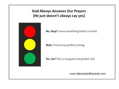 Does God Answer Prayers? He does. Yes, No, Wait... just like a stoplight! Great lesson for our children!