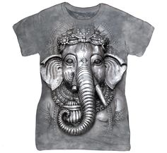 Big Face Ganesh Hindu Elephant God Luck Grey The Mountain T Shirt 3d T Shirts, T Shirts For Women, Big Face, Elephant Head, Elephant Print, Tye Dye, Graphic Tees, Sweatshirt, Prints