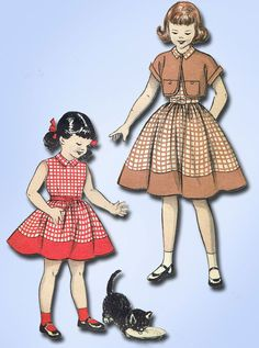 1950s Vintage Butterick Sewing Pattern 6792 Toddler Girls Dress & Bolero Size 6
