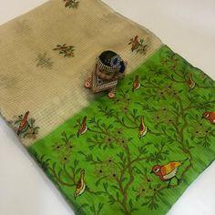 Banaras kora tissue sarees with allover embroidary. These sarees designed with banaras kora fabric with allover embroidary birds and beautiful contrast