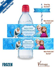 Disney Frozen Birthday Party - Water Bottle Wrappers & Bonus: Straw Flags Images digital file girl boy DIY Olaf Sven Anna Elsa Hans Kristoff on Etsy, $4.99