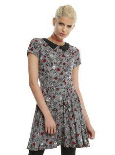 Disney Snow White Rose Print Dress, CHARCOAL
