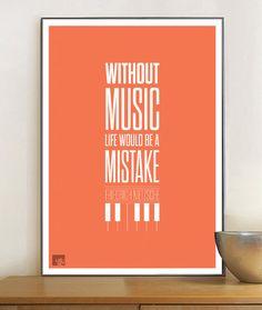 Friedrich Nietzsche Quote life music print poster by LabNo4