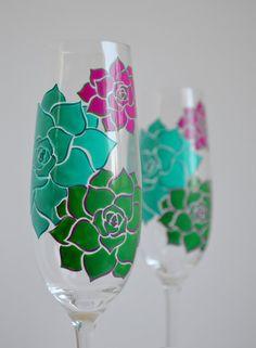 Succulent Stone Rose Champagne Flutes - Set of 2 Toasting Flutes - Custom Colors