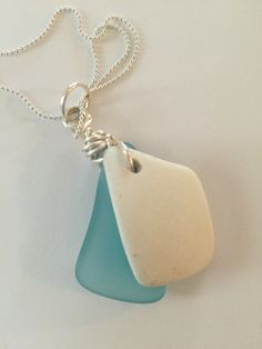 Tumbled blue glass and white ceramic on sterling silver chain