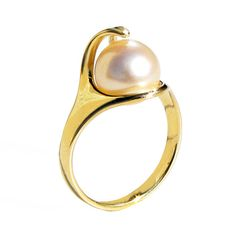 Gold Pearl Ring Custom Ring Egyptian contemporary jewelry engagement