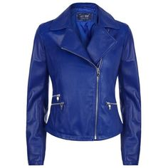 Armani Jeans Leather Biker Jacket (57,385 INR) ❤ liked on Polyvore featuring outerwear, jackets, coats, rider jacket, biker jacket, motorcycle jacket, blue motorcycle jacket and leather moto jacket