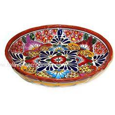 For a pop of color. Talavera Birdbath Plate