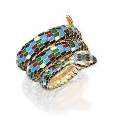 18 Karat Gold, Enamel and Yellow Sapphire 'Serpenti' Wristwatch by Bulgari