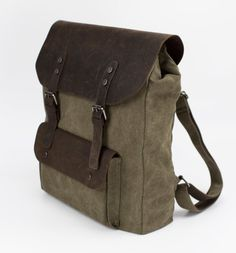 Vintage Style Leather Canvas Backpack by Bristlegrass on Etsy