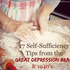 Grab these 17 self-sufficiency tips from the Great Depression and and learn how they really did it without electricity or refrigeration. Loved the live interview with her Dad who actually went lived through this and shares his stories. So much wisd Survival Food, Survival Prepping, Emergency Preparedness, Survival Skills, Survival Hacks, Homestead Survival, Emergency Binder, Prepper Food, Survival Essentials