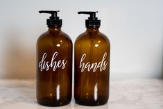 Hand and Dish Soap Dispenser Set, Amber Glass Bottle with Pump, Glass Bottles and Labels, Farmhouse Kitchen Decor, Soap Dispenser Bottle Kitchen Sink Decor, Farmhouse Kitchen Decor, Modern Farmhouse, Dish Soap Dispenser, Soap Dispensers, Soap Labels, Organizing Labels, Amber Glass Bottles, Bathroom Essentials