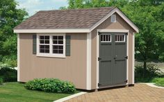 beige shed with darker door Pool Shed, Backyard Sheds, Exterior Color Combinations, Exterior Colors, Shed Makeover, Small Sheds, Shed Colours, Backyard Furniture, Shed Homes