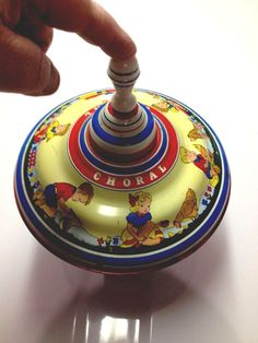 #vintage Ohio Art Co Spinning Top Metal & Wood - Pre 60s - Works Great! from $14.99